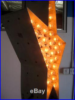 Vintage 1950's Tall BULB-LIT BLUE OPEN ARROW Double-Sided Antique Sign