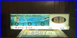 Vintage 1960s BURGER BEER LIGHTED SIGN Neon Lake Scene 34 X 9.5 IT WORKS