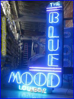 Vintage 1970's BLUE MOOD LOUNGE Antique Neon Sign / Large Double Sided