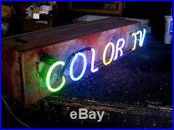 Vintage 1970's COLOR T. V. Hanging Neon Antique wood Sign