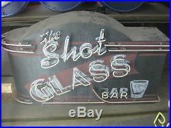 Vintage 1970's THE SHOT GLASS BAR Neon sign Beautiful Design / Great Art piece