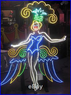 Vintage 1980'S VEGAS SHOWGIRL DIVA Neon Sign Antique Bar / Strip lounge