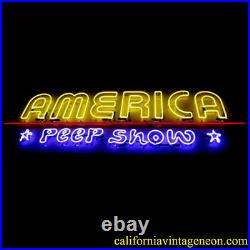 Vintage 1980's AMERICA PEEP SHOW (Large) Neon Sign / Single Sided Antique