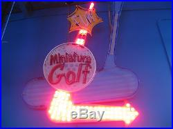 Vintage 1980's MINIATURE GOLF Antique Neon Bulb Lit Sign / Single Sided