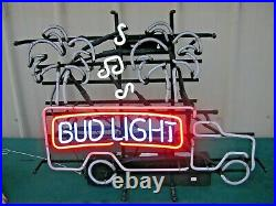 Vintage 1992 Authentic Bud Light Neon Lighted Beer Sign Palm Magic Tree Truck