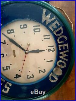 Vintage 21 Neon Advertising Clock Wedgewood Gas Ranges Neolite Oakland Ca