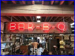 Vintage 2 Sided Neon Tin Can Sign Hamburgers Bar B Q Shipping Available