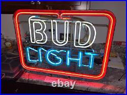 Vintage 70's/80's Bud Light Beer Neon Sign 21x27 Works Budweiser (8107)