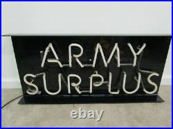 Vintage ARMY surplus blue neon store sign advertising light military collectors