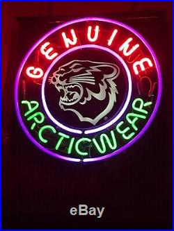 Vintage Arctic Cat Arctic Wear Dealer Neon Sign Rare Very Nice Sign 25 X 25