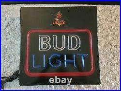 Vintage BUD LIGHT Neon LIGHTED Beer Sign Bar Ad BUDWEISER Rare Plastic