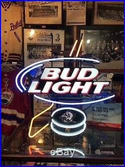 Vintage BUFFALO SABRES Hockey Bud Light Neon Sign