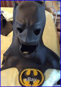 Vintage Batman Neon Light Up Sign & 1989 Batman Keaton Mask With Arm Guards
