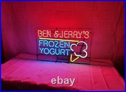 Vintage Ben And Jerry's Frozen Yogurt Ice Cream Neon Sign