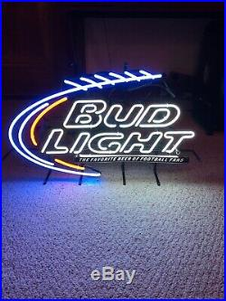 Vintage Bud Light NFL Football Real Neon Sign Beer Bar Light