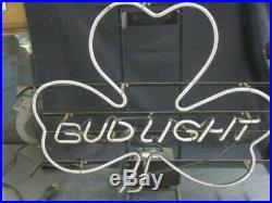 Vintage Bud Light Shamrock Neon Lighted Bar Sign