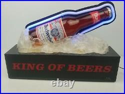 Vintage Budweiser Beer Bottle on Ice Neon Bar Sign Light Spencer's