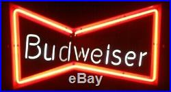 Vintage Budweiser Beer Bow Tie Neon Bar Sign 30W X 20H