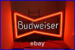 Vintage Budweiser Beer Bow Tie Neon Light Sign 30 x 19 Bar Rec Room Mancave