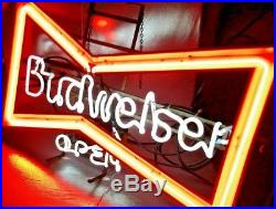 Vintage Budweiser Bow Tie Neon Light Bar Sign 42x26 Free Shipping