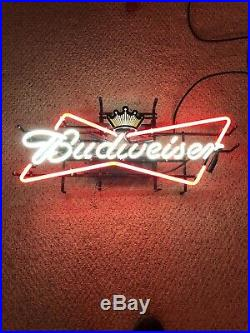 Vintage Budweiser Bowtie Bow Tie Real Neon Sign Beer Bar Light