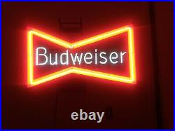 Vintage Budweiser Bowtie Bow Tie Real Neon Sign Beer Bar Light, Working