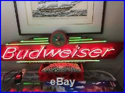 Vintage Budweiser Neon Beer Sign Classic American Lager 1998 36 In. Long