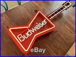 Vintage Budweiser Neon Sign 1987 Bowtie Guitar