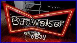 Vintage Budweiser On Tap Beer Breweriana Bow Tie Electric Neon Sign Works Great