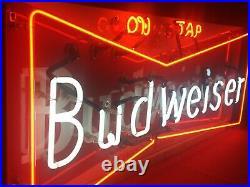 Vintage Budweiser On Tap beer neon sign porcelain enamel 48 X 18 bow tie