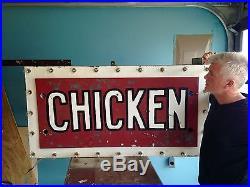 Vintage Cafe Diner Chicken Lighted Neon Advertising Sign N/ Porcelain Sequenced