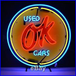 Vintage Chevrolet Chevy OK Used Cars Neon Sign 25x25