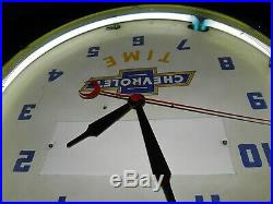 Vintage Chevrolet Neon Chevy Time Dealer Clock Sign, Real Corvette Camaro C10
