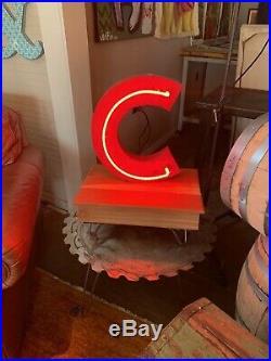 Vintage Chicago Cubs Neon Letter C