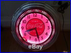 Vintage Coca Cola 50's Diner Pink Neon Spinner Clock Works Perfectly