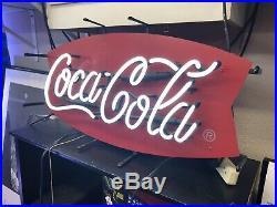 Vintage Coca Cola Coke Lighted Neon Sign Classic Fishtail Authentic Original
