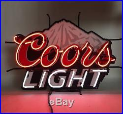 Vintage Coors Light Beer Neon Sign With Mountain In The Background Large Script