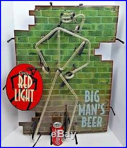 Vintage Coors Red Light Big Man's Beer Large Neon Bar Sign Light Man Cave Works