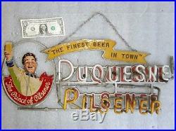 Vintage DUQUESNE BEER NEON & METAL SIGN Bar Antique advertising needs repair