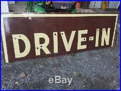 Vintage Drive In Neon Porcelain Sign Movie Car