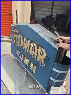 Vintage EDMAR INN Restaurant ROME NY Large Two Sided NEON Art Deco SIGN 60x43x10