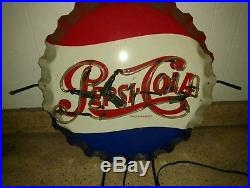 Vintage Embossed Pepsi Cola Bottle Cap Sign Stout Antique original neon light 32