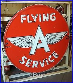 Vintage Flying A Service 72 porcelain neon sign! Circa 1956. Very nice sign