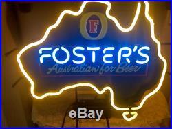 Vintage Foster's Lager Light Up Neon Beer Light, Sign, Bar, Mancave 26 x 25USA