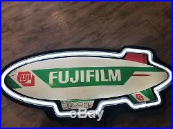 Vintage Fujifilm Blimp Advertisment 28 Neon Light Sign Inc FallOn USA 1996