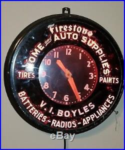 Vintage Glo-dail Firestone Neon Advertising Clock
