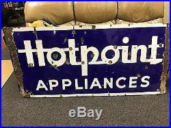 Vintage Hotpoint Appliances Porcelain Blue Sign 1 Sided Neon Missing