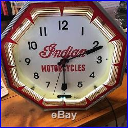 Vintage Indian motorcycle neon clock RARE