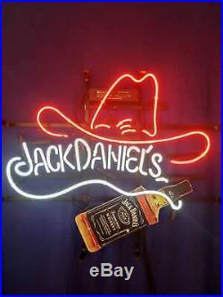 Vintage Jack Daniels Cow Boy Hat Neon Sign Light WhiskyBeer Bar Pub Wall Decor