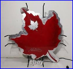 Vintage John MOLSON Beer Red Canadian Leaf Neon Lighted Bar Wall Sign Man Cave